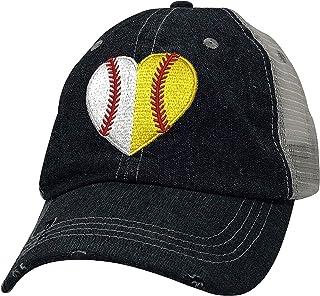 Cocomo Soul Embroidered Heart Ball MOM Softball Mom Baseball Mom Mesh Trucker Style Hat Cap Dark Grey