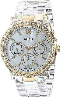 XOXO Women's XO5527 Clear Bracelet with Rhinestones on Gold Case Watch
