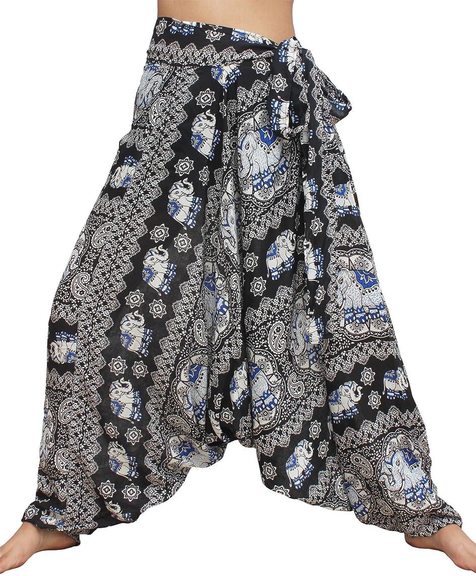 Raan Pah Muang Thai Elephant Print Baggy Side Tie Mao Hill Tribe Harem Pants
