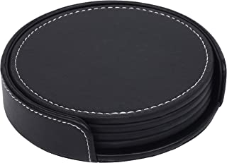 Leatherette Coaster Set - Set of Four Black Coasters With Holder - By Monarch Housewares