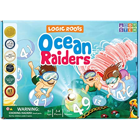 Logic Roots Ocean Raiders Number Sequencing & Addition Game - Fun Math Board Game and STEM Toy for 5 - 7 Year Olds, Perfect Educational Gift for Kids (Boys & Girls), Home Schoolers, Kindergarten & Up