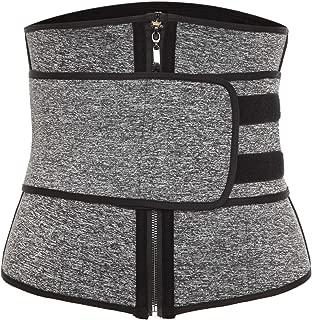 Vaslanda Neoprene Sauna Waist Trainer Trimmer, Workout Weight Loss Belt, High Compression Sweat Body Shaper with Zipper