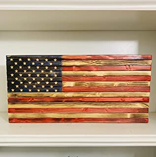 Rustic Handmade Wooden American Flag Made of Natural Pine Wood in the USA, indoor/Outdoor Patriotic Home Decor 18.5 X 9 X ...