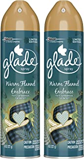Glade Air Freshener Spray - Limited Edition - Warm Flannel Embrace - Net Wt. 8 OZ (227 g) Per Can - Pack of 2 Cans