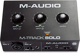 M-Audio M-Track Solo – USB Audio Interface for Recording, Streaming and Podcasting with XLR, Line and DI Inputs, Plus a So...