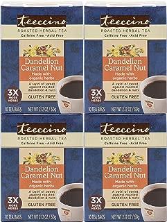 Teeccino Dandelion Caramel Nut Dandelion Root Roasted Herbal Tea, Caffeine Free, Gluten Free, Acid Free, Prebiotic, 10 Tea Bags (Pack of 4)