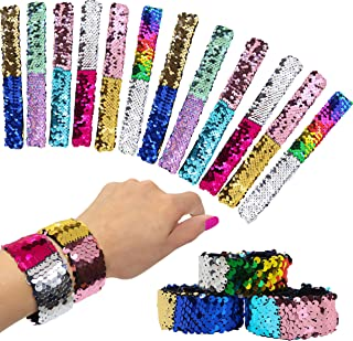 12 Pcs Reversible Sequins Slap Bracelets for Kids - Mermaid Style Magic Flip Sequin Snap Bracelet Set - Great Birthday Party Favors, Holiday Stocking Stuffers for Little Girls