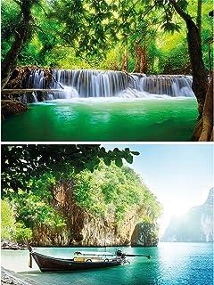 GREAT ART Juego de 2 carteles XXL cascada y decoración de la pared de la bahía set paraíso y naturaleza - Tailandia Asia tropics rainforest photo - tapiz fotográfico (140 x 100 cm)