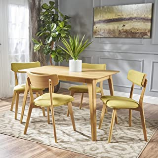 Christopher Knight Home Meanda Mid Century Natural Oak Finished 5 Piece Wood Dining Set with Green Tea Fabric Chairs