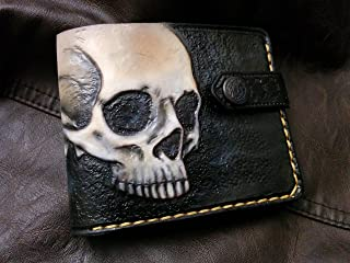 Men's 3D Genuine Leather Wallet, Hand-Carved, Hand-Painted, Leather Carving, Custom wallet, Personalized wallet, Skull wallet, Skeleton wallet