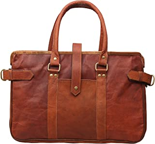 Women Vintage Style Genuine Brown Leather Tote Shoulder Shoppers Bag Handmade Purse Large Office Casual