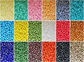 BALABEAD 10800pcs 8/0 Seed Beads in Box 18 Colors Mixed Opaque Lustered Loose Spacer Glass Beads, 3mm Round (600pcs/Color,Silver Color Mixed)