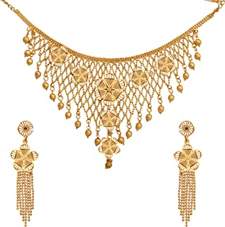 Ethnic Kundan Pearl Gold Plated Jewellery Necklace Set With Earrings For Women and Girl