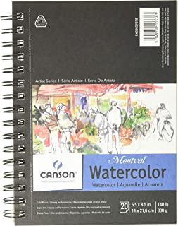 وسادة ورقية ذات ألوان مائية مونتفال من سلسلة كانسون أرتيست، كبس بارد ثقيل الوزن ومثقب بشكل دقيق، سلك جانبي، 140 رطل، 5.5 ×...