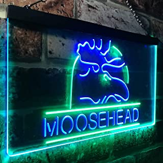 zusme Moosehead Lager Beer Man Cave Novelty LED Neon Sign Green + Blue W16 x H12