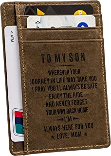 Engraved Pocket Wallet For Men,Personalized Minimalist Slim Leather Pocket Wallet for Husband Son Birthday Christmas Gift