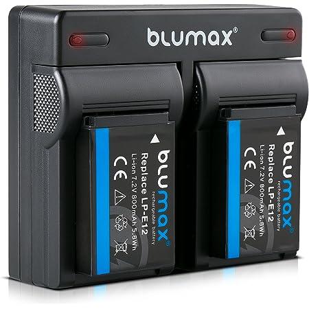 Blumax 2x Akku Dual Ladegerät Kompatibel Mit Canon Elektronik