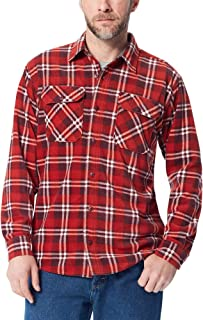 Authentics Men's Long Sleeve Plaid Fleece Shirt, Bossa...