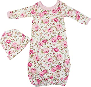 Newborn Baby Gowns Set for Girls - Cute Little Sleeper with Beanie - Makes a Great Swaddle Sleep Sack - Pink Floral
