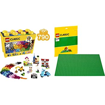 Lego Classic Large Creative Brick Building Blocks for Kids (790 Pcs) 10698 & Lego Classic Green Baseplate Supplement 10700 (Multi Color)