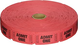 2000 Red Admit One Single Roll Consecutively Numbered Raffle Tickets