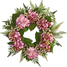 Nearly Natural 24? Hydrangea Berry Wreath, Pink