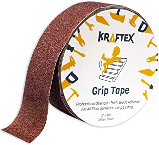 """Anti Slip Grip Tape [2"""" Brown] Non Slip Friction Tape Great Stair Runners for Wooden Steps & Stairs. Grip Tape for Stair Nosing Indoor Stairs & Outdoor Stair Treads Non-Slip Tape and Skateboard Tape."""