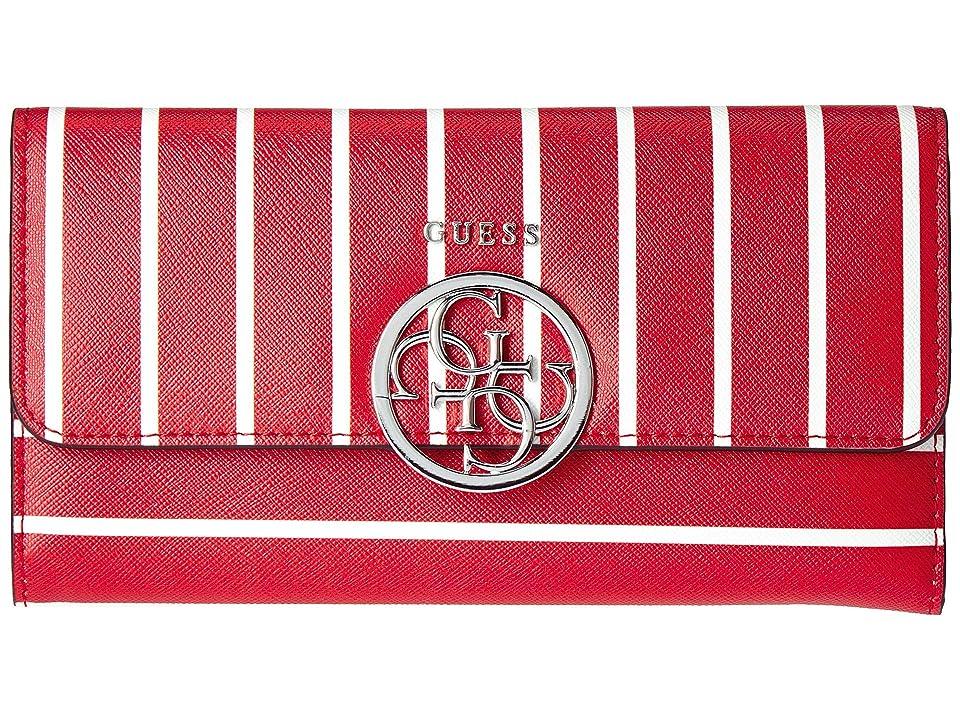 GUESS Kamryn SLG Multi Clutch (Red Stripe) Handbags