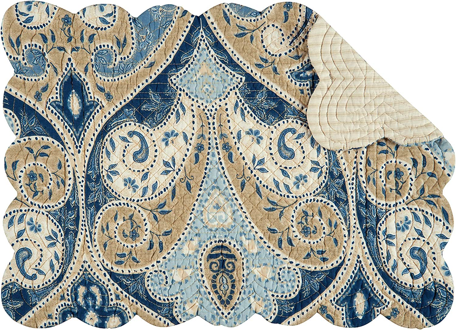 C&F Home Nazima Quilted Single Rectangular Cotton Quilted Reversible Machine Washable Placemat Rectangular Placemat Blue