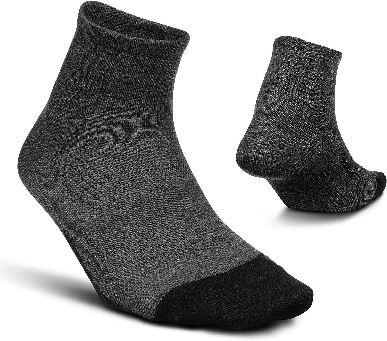 Feetures Merino 10 Ultra Light Quarter- Wool Hiking & Running Socks for Men & Women, Targeted Compression (1 Pair)