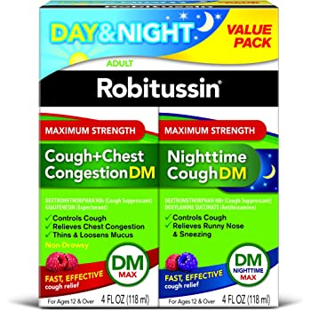 Robitussin Day & Night Max Strength Cough + Chest Congestion DM/Nighttime Cough DM Max, 4 Fl Oz, 2Count