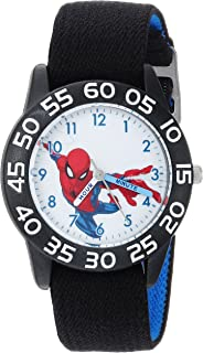 MARVEL Boys Spider-Man Analog-Quartz Watch with Nylon Strap, Black, 16 (Model: WMA000176