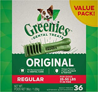 GREENIES Original Regular Dental Dog Treat, 1kg (36 treats), Adult, Small/Medium/Large