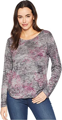 Burnout Long Sleeve Purple Print Top
