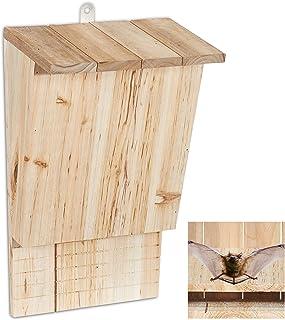 Relaxdays, nature, abri à chauve-souris, Niche en bois non traité de sapin, Maison, Boîte H x L x P : 34 x 22,5 x 13 cm