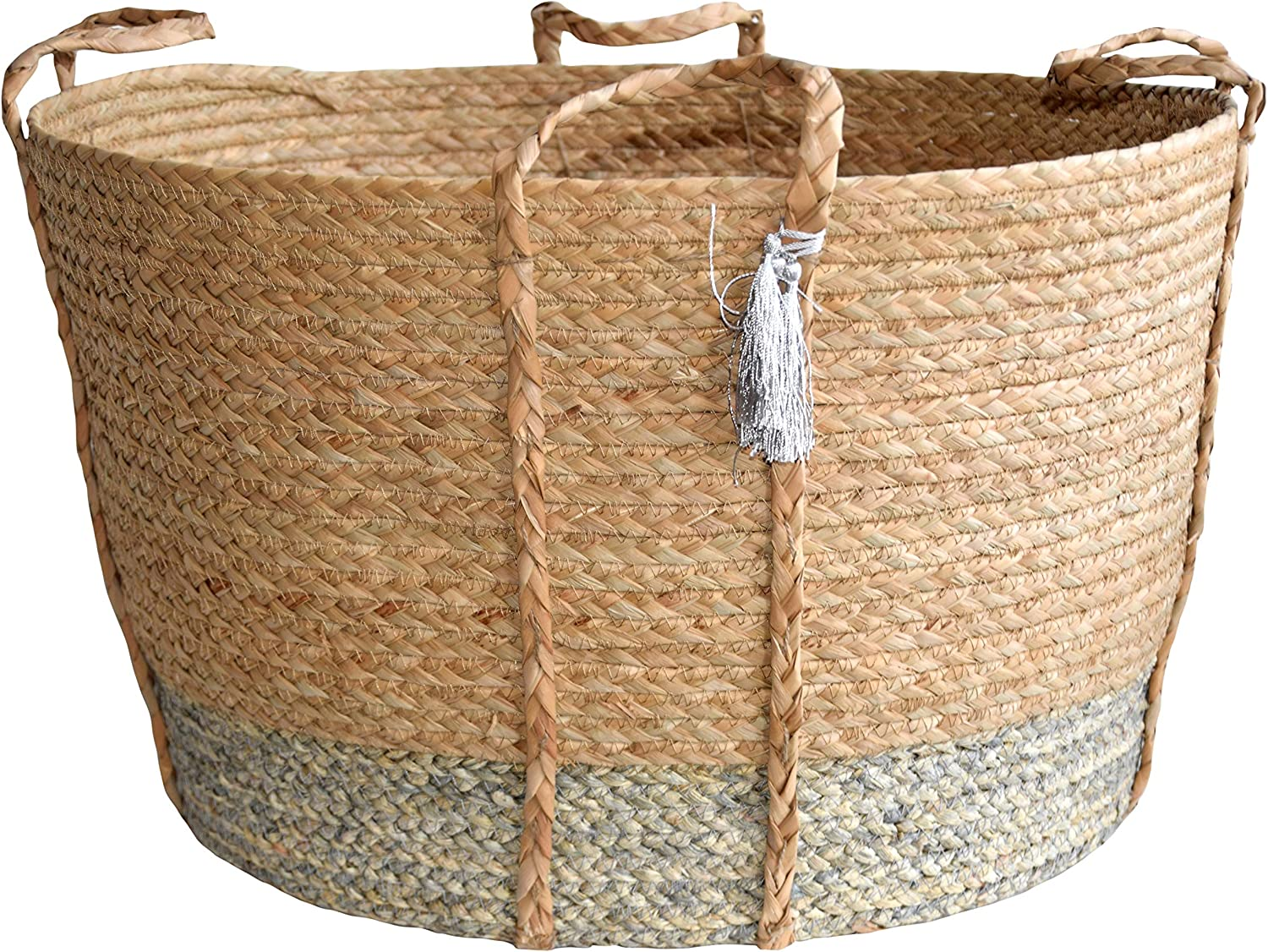 DUFMOD Beige Silver Grey Handwoven Natural Seagrass Multipurpose Basket for Storage, Laundry, Planter (Extra X Large)
