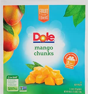 DOLE Frozen Mango Chunks, 40 Ounce Bag with 5 Pre-Portioned Packets