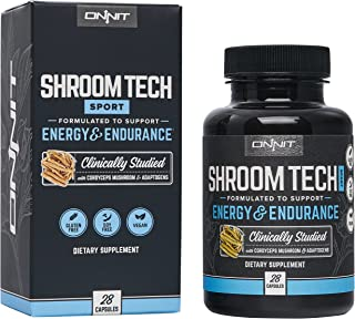 Onnit Shroom Tech Sport: Clinically Studied Preworkout Supplement with Cordyceps Mushroom (28ct)