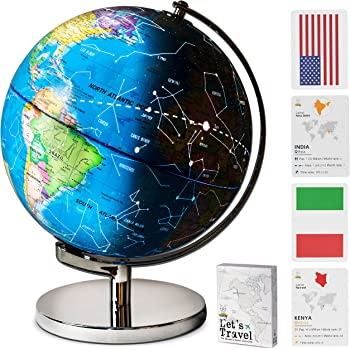 """9"""" Children Illuminated Spinning World Globe with Stand Plus Flags STEM Card Game. 3 in 1 Interactive Educational Desktop Earth Globe for Kids LED Night Light Lamp, Political Map & Constellation View"""