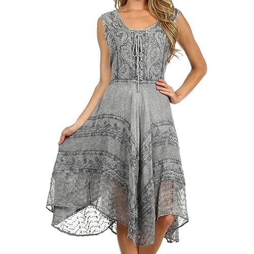 1e1f2bc5b555 Sakkas Sundara Stonewashed Rayon Embroidered Mid Length Dress