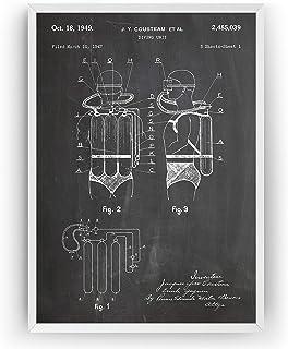 Diving Unit 1949 Patent Print - Jacques Cousteau Scuba Diving Póster Con Diseños Patentes Decoración de Hogar Inventos Car...
