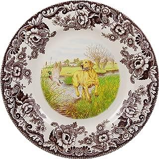 Spode Woodland Hunting Dogs Yellow Labrador Retriever Dinner Plate, 10.5 inch