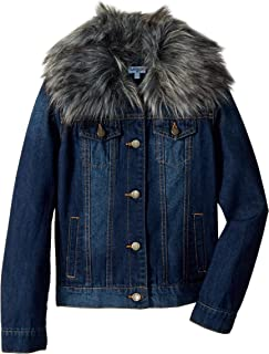 Girls' Denim Jacket with Faux Fur Collar