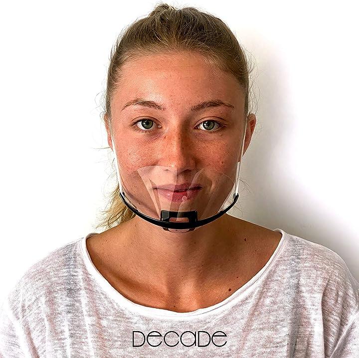 Mascherina trasparente bocca naso [10 pezzi] decade® nero - protezione del viso covid 19 B08BPHCR8S