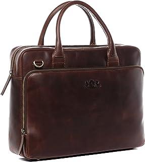 SID & VAIN Laptoptasche echt Leder Ryan XL groß Businesstasche Umhängetasche Aktentasche Laptopfach 15.6 Ledertasche Unisex braun