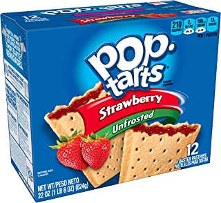 Pop-Tarts Breakfast Toaster Pastries, Unfrosted Strawberry Flavored, 22 oz (12 Count)