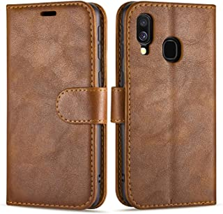 Case Collection Hochwertige Leder hülle für Samsung Galaxy A40 Hülle (5,9') mit Kreditkarten, Geldfächern und Standfunktion für Samsung Galaxy A40 Hülle