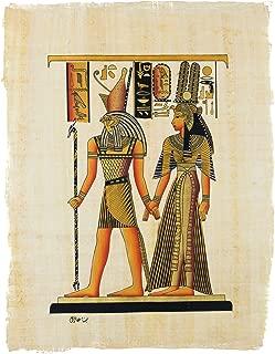Leolana Egyptian Papyrus Nefertari Led By Horus Hand Painted Painting on 100% Authentic Egyptian Papyrus Paper-13x17-Black & Gold