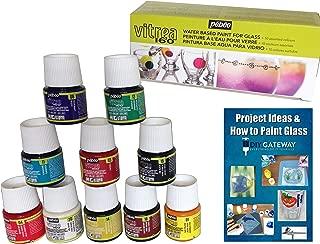 Glass Paint Dishwasher Safe Pebeo Vitrea 160, 10 Pack Permanent, Bakable, Transparent Glass Stain Painting Set + Instructional Guide, 45 ml Bottles