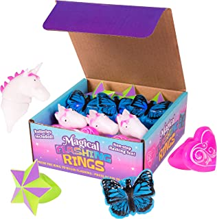Narwhal Novelties Girls LED Jelly Rings, Light Up Toy Rings, Bumpy Rings; Party Favors for Girls (12-Pack) Butterfly, Unicorn, Heart, Star Designs!